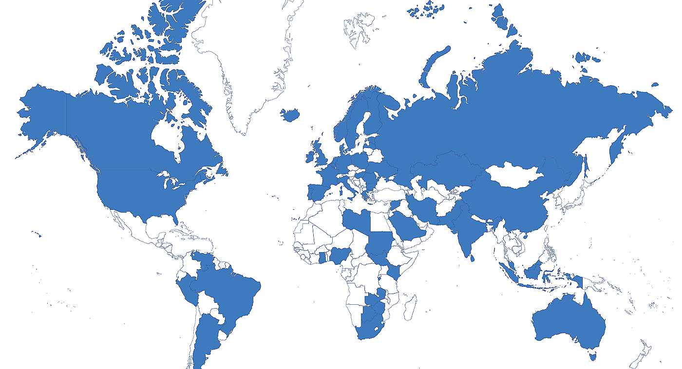 A map of the world illustrating TestLink UK's ATM service locations